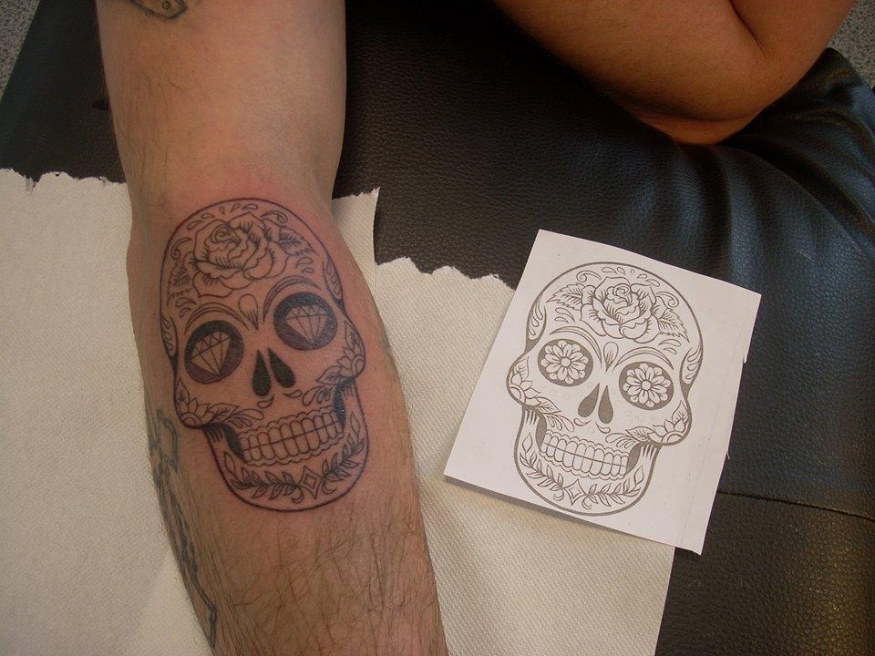 Tatouage Avant Bras Tete De Mort Rock N Roll Tattoo 76